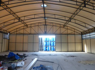 twin warehouse tents interior