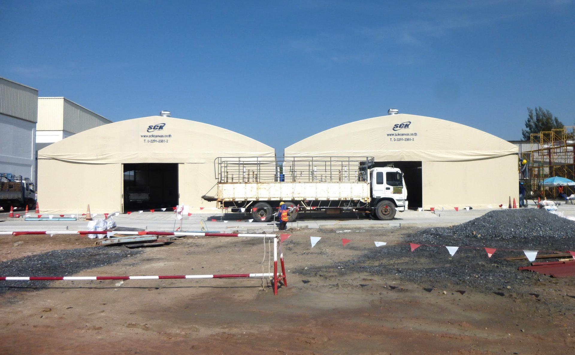 twin warehouse tents