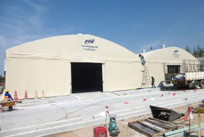 twin warehouse tents by sck